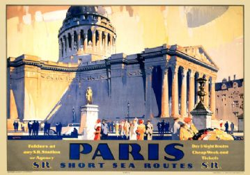 Paris, Short Sea Routes with The Pantheon. Vintage SR Travel Poster by Frederick Griffin